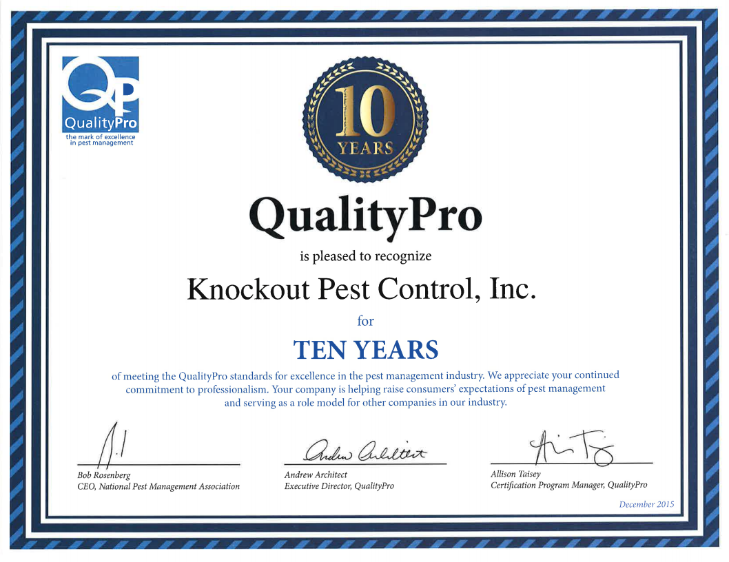 Qualitypro pest control certification knockout pest control knockout pest control quality pro certification 1betcityfo Image collections