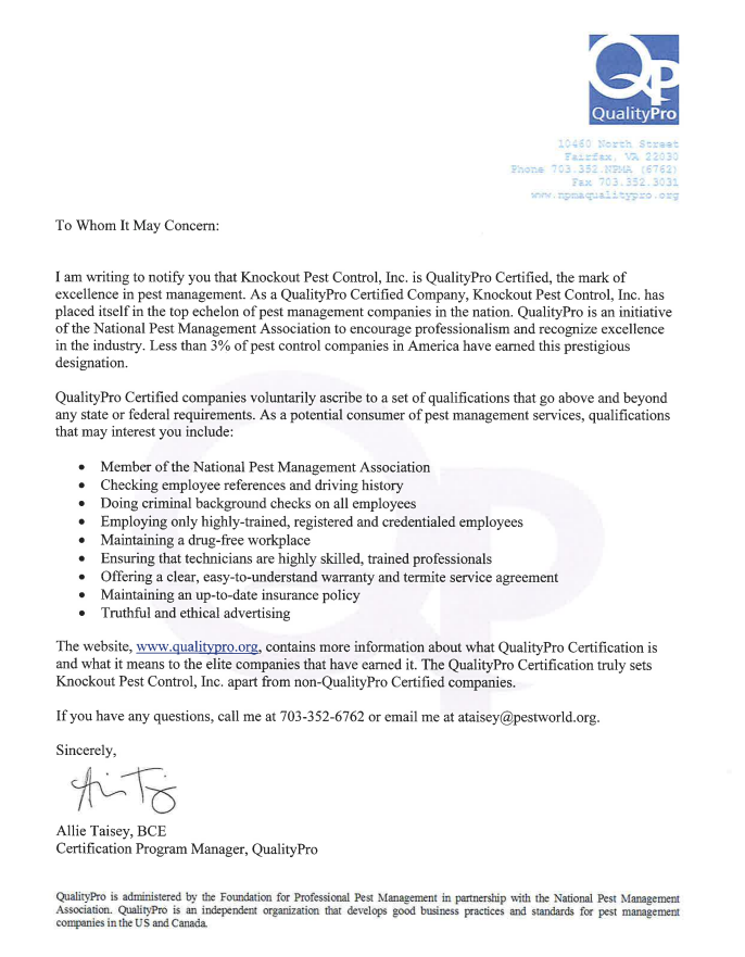 Knockout Pest Control Quality Pro Certification Letter
