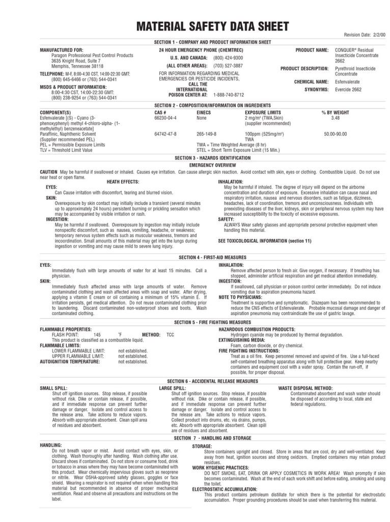CONQUER INSECTICIDE MSDS PAGE 1